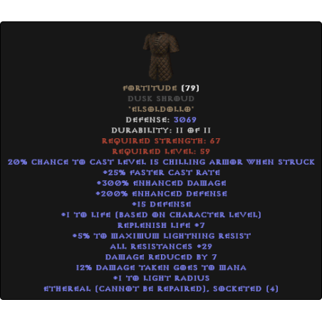 Fortitude Dusk Shroud - Ethereal Bugged - 25-29 All Resistance
