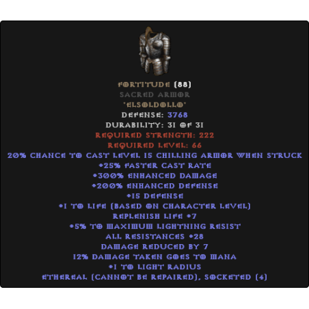 Fortitude Sacred Armor - Ethereal Bugged - 25-29 All Resistance