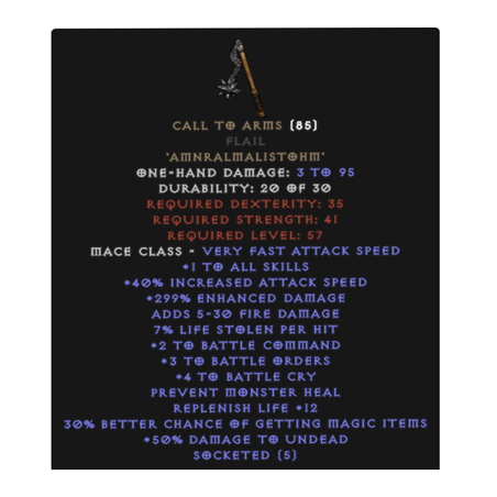 CALL TO ARMS +6 BO (CRYSTAL SWORD OR FLAIL)