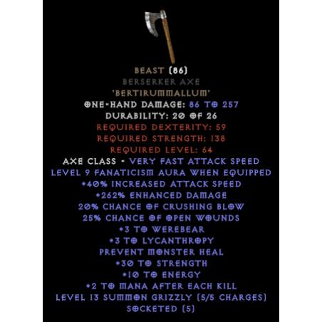 Beast 240-259% ED - Berserker Axe